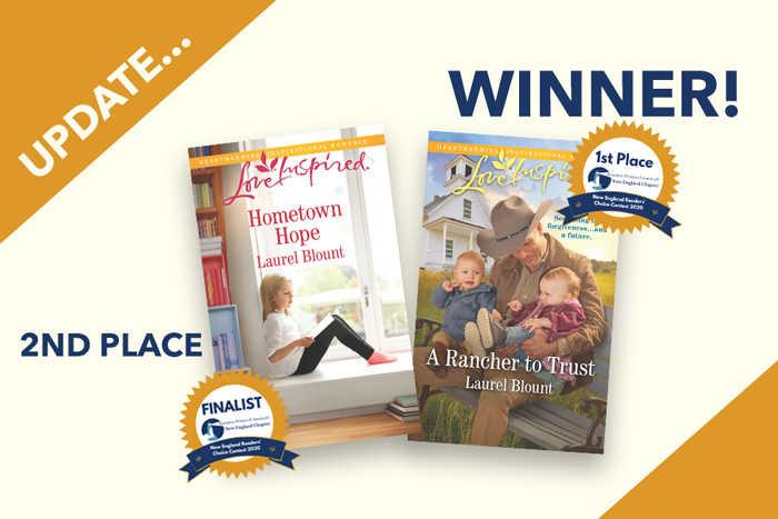 A Rancher to Trust with 1st place winner badgs, Hometown Hope with 2nd place badge - New England Readers Choice Award
