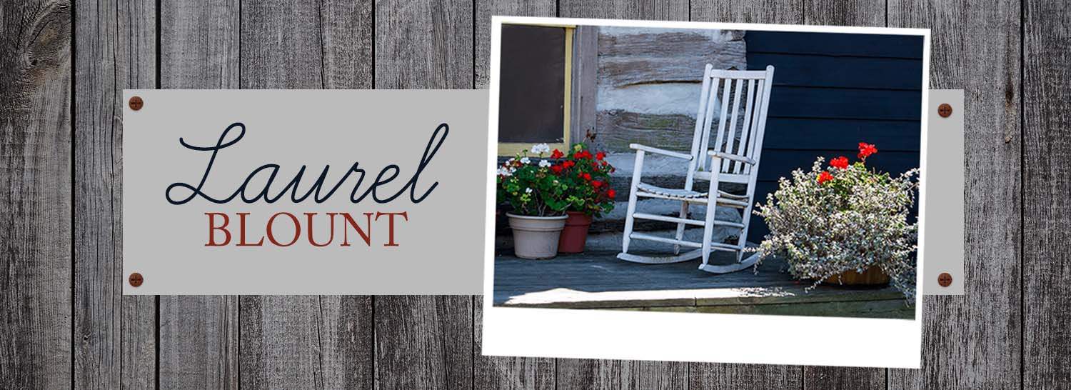 Photo of porch with rocker against a rustic fence. Logo: Laurel Blount